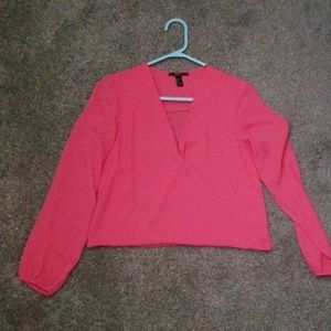 Forever 21 Pink long sleeve sheer top size s
